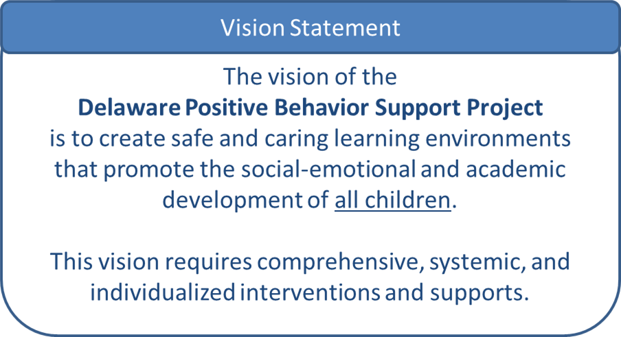 The vision of the Delaware Positive Behavior Support Project is to create safe and caring learning environments that promote social-emotional and academic development of all children. The vision requires comprehensive, systemic, and individualized interventions and supports.